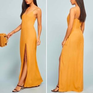 Reformation Harlowe V-Neck Ochre Maxi Dress 10 NWT